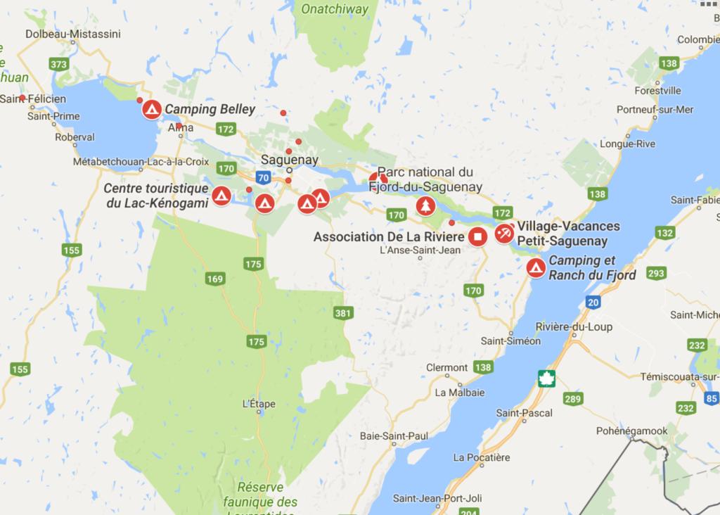 Google map camping en famille
