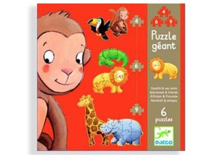 Djeco Puzzle Géant - 6 en 1 - Ouistiti et ses amis