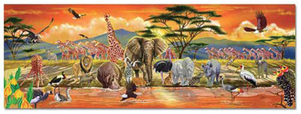 Casse-tête de plancher Safari de Melissa & Doug (100 pièces) :